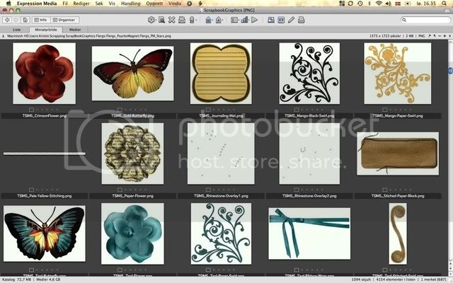 Organizing digital scrapbook PNG files