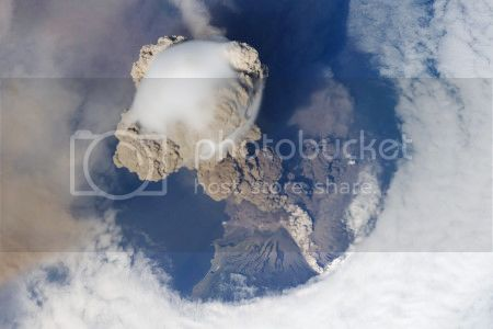 Sarychev Peak eruption, Kuril Islands, 12 June 2009 (ISS astronaut photograph/NASA Earth Observatory)