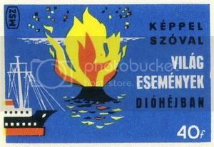 Volcano matchbox label: 'Keppel Szoval'